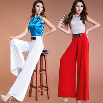 2017 New Womens Fashion Chiffon Pants Wide Leg High Waist Loose Summer Pants Ladies Elegant Straight Thin Plus Big Size Trousers