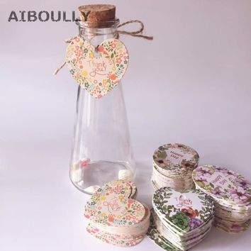 50pcs Design Thank You / Happy day Gift Tag with Hemp Rope Paper Label Packaging Wedding Thanksgiving Day Favor DIY Party suppl