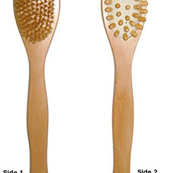 DRY SKIN BODY BATH BRUSH/MASSAGER: Dual Head Bath Brush, Natural Bristles, Exfoliating, Remove Toxins, Cellulite Reduction. Helps Achieve Glowing, Healthier Skin. 100% Customer Satisfaction.