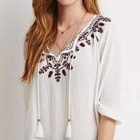 Floral Embroidered Tie-Nack Sleeve Shirt