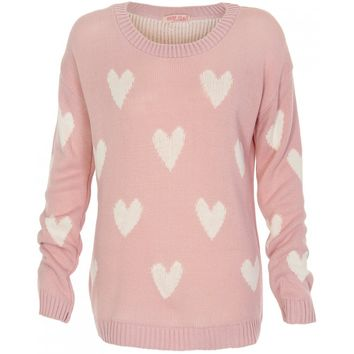 Pink Knit Long Sleeve Sweater with All Over Heart Print
