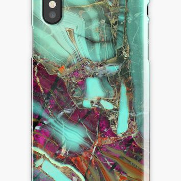 'Purple And Teal Marble Gem Stone Pattern' iPhone Case by Quaintrelle