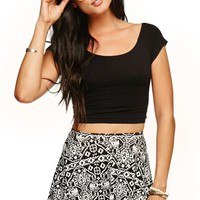 LA Hearts Tribal Skater Skirt - Womens Skirt - Black - Large