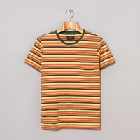 Beams Plus Plain Stitch Border T-Shirt (Brown / Natural / Orange) | Oi Polloi