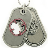 Firefighter Prayer Brushed Steel Cutout Double Dog Tags