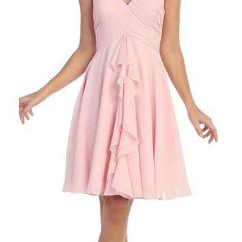 Knee Length Chiffon Bridesmaid Dress Blush Sweetheart Neck