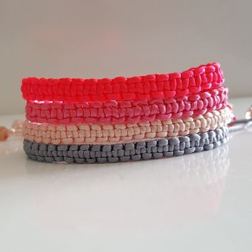 Macrame Square Knot Friendship Bracelet- Think Pink