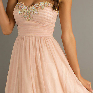 pale peach dress, light peach dress, short peach prom dress, short dresses, short prom dress, 1308