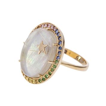 Large Mother Of Pearl And Sapphire Galaxy Ring