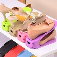 5pcs/lot Shoes Rack Shoes Organizer Space Saving Shoes Tree Stand Shoe Storage Holder Adjustable Magic 2 Tier