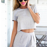 Gray Short Sleeve Cropped Top Shorts Set