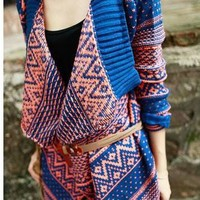 Hottest Retro Plaid Pattern Knitted Coat in Blue