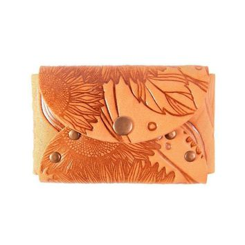 Small leather business card holder, Leather wallet for business cards, Orange business card holder with sunflower