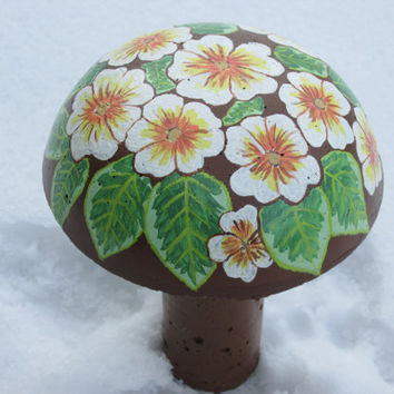 Concrete primrose painted mushroom, hand painted flowers, garden decor, yard art,  white, orange, brown