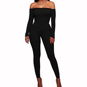 Chic-Lover Women's Sexy Long Sleeve Off Shoulder Drawstring Bodycon Jumpsuits Rompers
