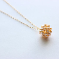 "Gold Necklace - Beaded Pearl Necklace - 20"" - Freshwater Champagne Pearl Pendant on Matte Gold Chain"