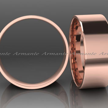 Modern Mens Wedding Band, 8.00mm Wide Hand Made 14K Solid Rose Gold Wedding Band