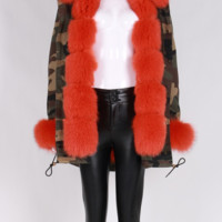 Karley Orange Fur Trimmed Fur Lining Camouflage Parka Coat