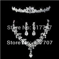 New 2016 Waterdrop Cubic Zirconia Jewelry Sets African Jewelry Set Wedding Jewelry Necklace Earrings Tiara Items 3TL009
