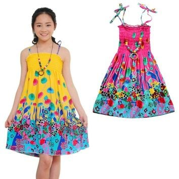 Summer Girls Dress Baby Clothes Chinese Style Vestidos Bohemian Dress Beach Cotton Dresses