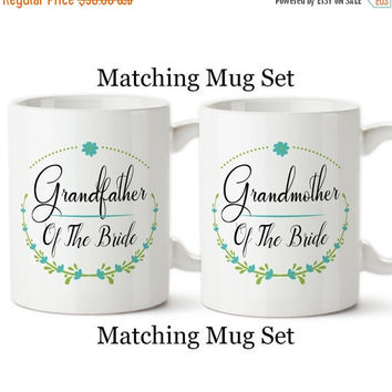 Coffee Mug, Grandfather And Grandmother Of The Bride Set, Floral Wreath, Wedding Party Gifts, Design,