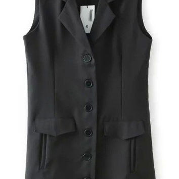 Black Sleeveless Button Down Jacket