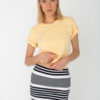 rsapo323st - Striped Ponte Mini Skirt