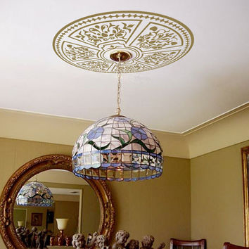 "Ceiling Medallion - Vinyl Ceiling Decal - Shabby Chic Decorative Decal for Chandelier Light Fixture Ceiling Fan 22"" Diameter CE001"