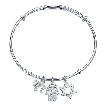 Je Star Hamsa Chai Dangle Charms Bangle Bracelet s CZ Sterling Silver