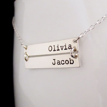 Personalized Silver Bars Necklace, Mommy Jewelry, Kardashian, Childrens Names, Anniversary Gift, Mothers Necklace, Valentines Mothers Day