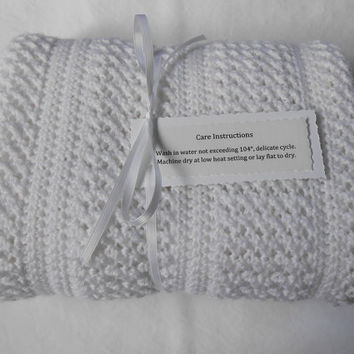 Crisscross Hand Crocheted Baby Afghan - White Baby Blanket - Free Shipping