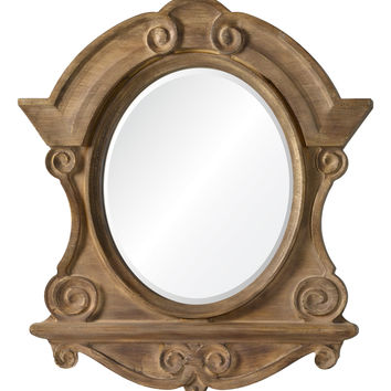 Clary Mirror Natural Wood with Brushed Gold and Gray Highlights; Beveled Mirror