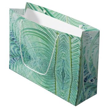 Soft Green Palm Tree Leaf Pattern Gift Favor Bag