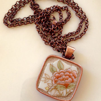 Peach Peony - Mosaic Necklace, Broken China Jewelry, Vintage Lenox, Helmsley by Lenox, Upcycled Jewelry, Repurposed Jewelry, Mosaic Art