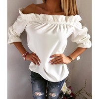 Women Blouse Puff Sleeve Slash Neck Soild Shirt Fashion Ladies Tops Strapless Off Shoulder Ruffles Feminine Blouses