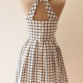 LOVE POTION - White Window Pane Plaid Dress, White Party Dress, Street Modern Vintage Modern Dress, White Boho Chic Dress, xs-xl,custom