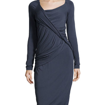 Women's Draped Long-Sleeve Jersey Dress, Slate Blue - Donna Karan - Slate blue (LARGE)
