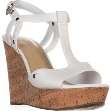 Marc Fisher Helma Platform Wedge Sandals, White Leather, 9 US