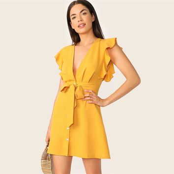 Plunging Neck Ruffle Armhole Belted Shirt Dress Sexy Deep V Neck Dress Women Yellow High Waist Dresses