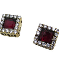 Vintage Faux Ruby and Topaz Earrings, Sterling Silver Pierced Studs