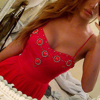 FOREVER 21 embellished beaded sun day dress coral red silver jewels crystals h&m