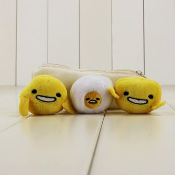 14cm lazy Gudetama Egg Keychain pea pod keychain with 3 cute different dolls in it kawaii cute lazy Gudetama Egg Keychain gift
