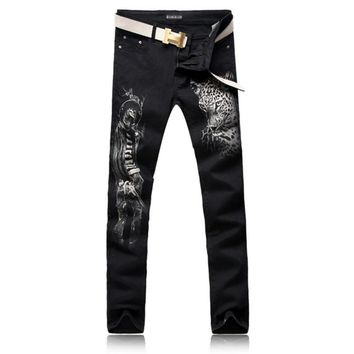 2017 New arrivals black leopard printed jeans winter fashion personality punk full-length cotton pants plus size free shipping