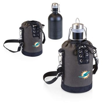 Miami Dolphins Growler Tote w/Stainless Steel Growler-Grey & Matte Black Digital Print