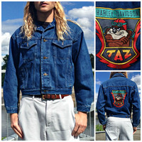 Vintage 1990's Denim Jacket by Acme Clothing Co - Embroidered Looney Tunes Patch - Taz / Harley Davidson - Retro Blue Jean - Size Medium (M)