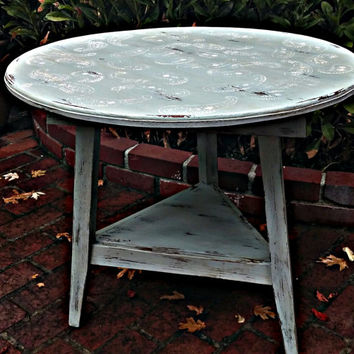 OOAK paisley stenciled handmade Vintage Upcycled Beachy cottage Distressed Side table, shabby chic, cottage, country, Rustic, blue furniture