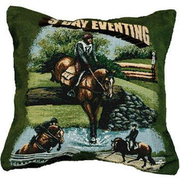 Equestrian Horses Throw Pillow - One Side Design