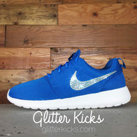 Nike Roshe One Customized by Glitter Kicks - DARK ELECTRIC BLUE/WHITE/CLEARWATER