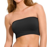 Hollywood Star Fashion Women's Basic Stretch Layer Seamless Tube Bra Bandeau Top,One Size,Black