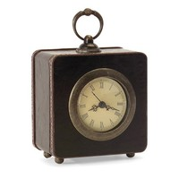 Black Faux Leather Clock